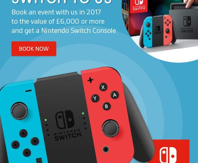 Book your events without a hitch & get the new Nintendo Switch at Cavendish Venues
