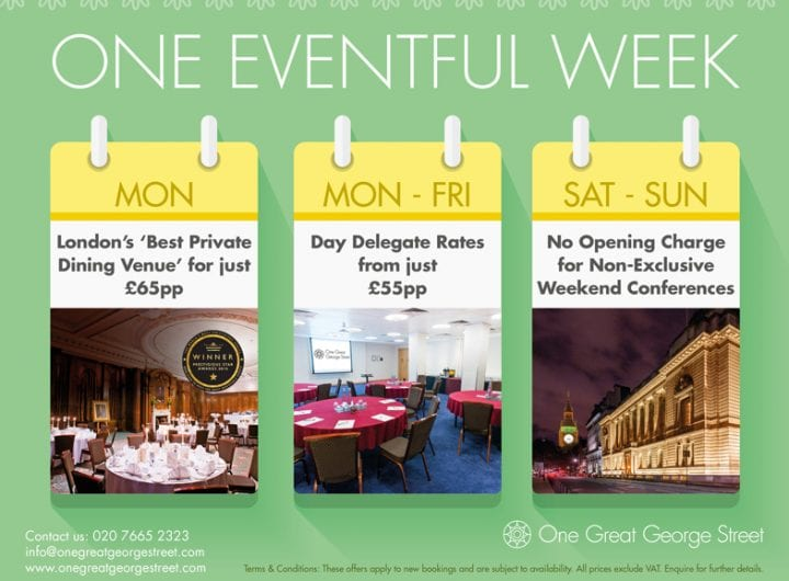 Event savings at One Great George Street from just £55pp