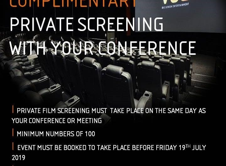 Complimentary private screening with your Vue West End conference